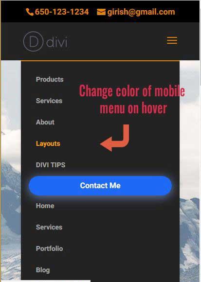 Change color of mobile menu on hover - DIVI