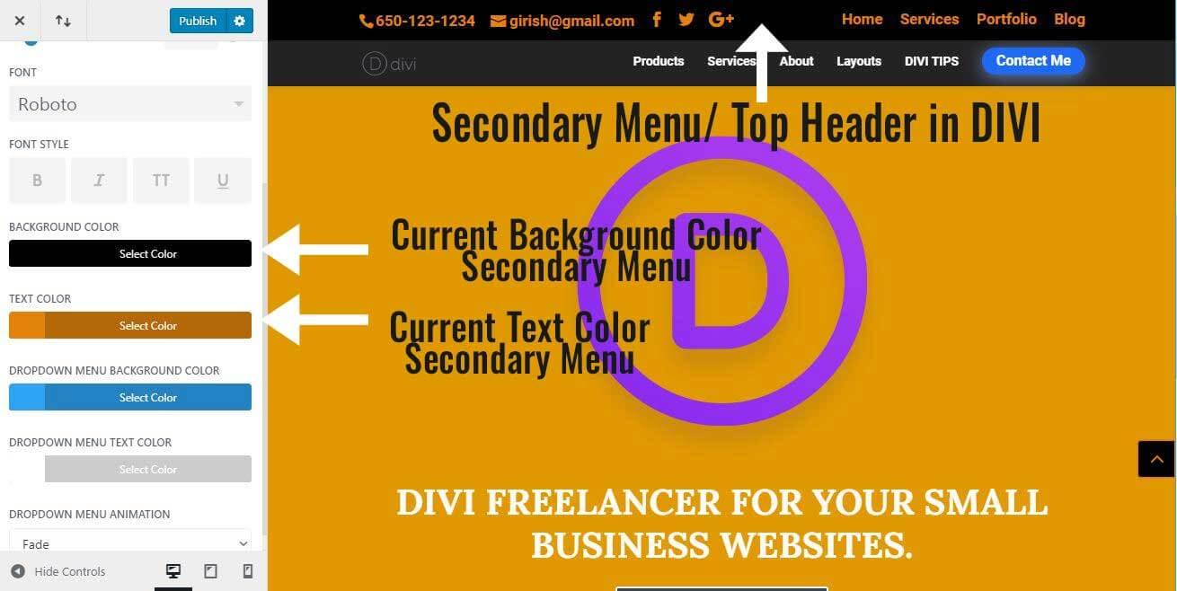 Background Color Secondary Menu - DIVI