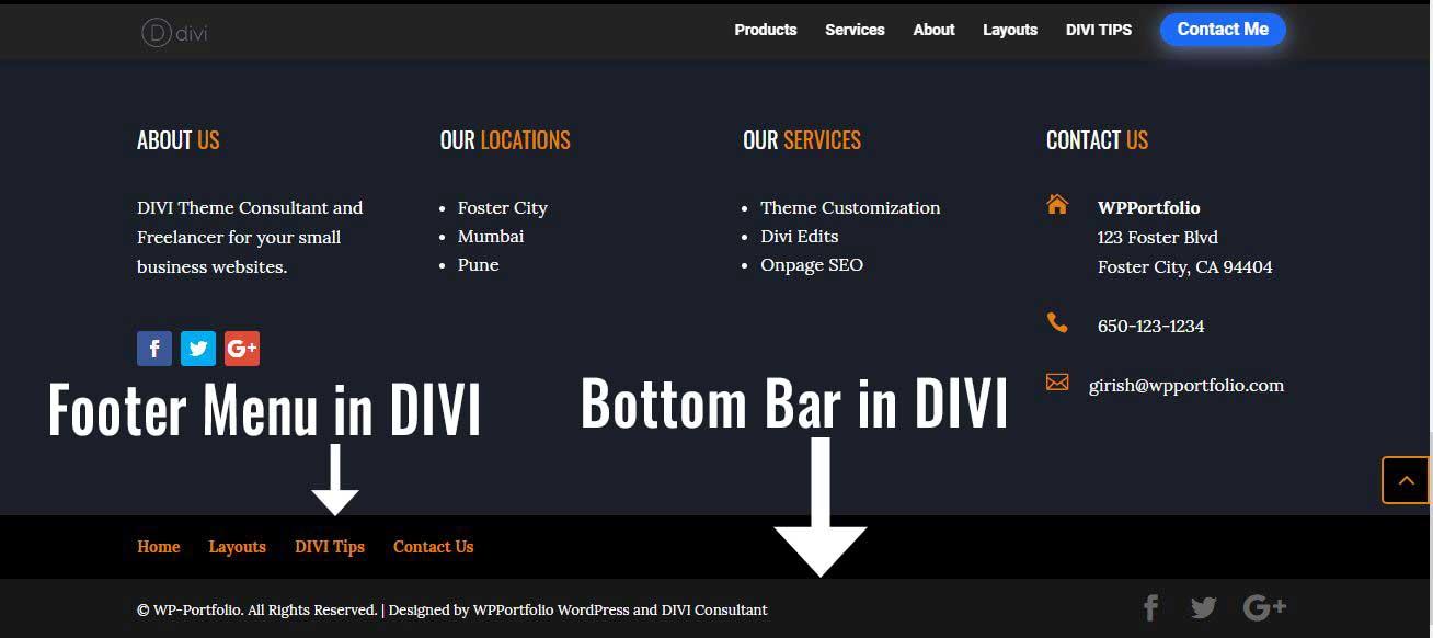 Footer Menu and Bottom Bar in DIVI