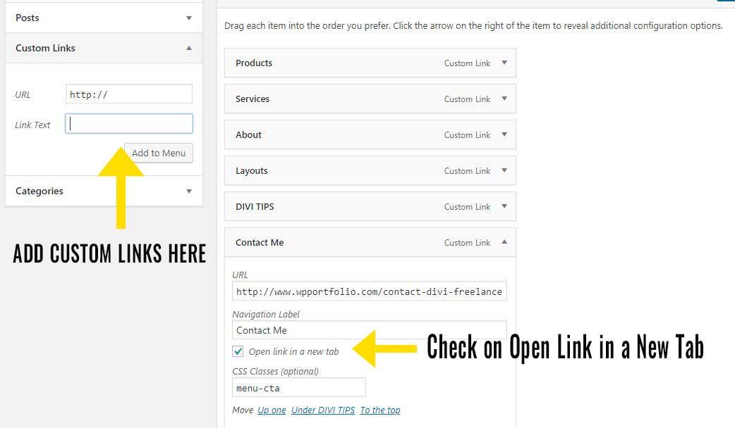 Open Custom Links in New Window/Tab
